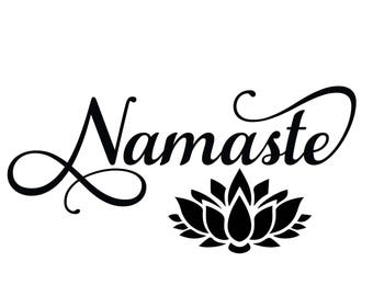 Namaste svg, Lotus flower, Yoga svg, Cut files for Silhouette, Files for Cricut, Cutting File, Iron on designs, Cuttables svg png eps dxf