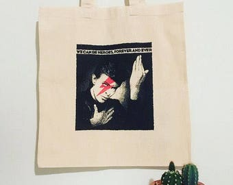 David Bowie: Ziggy Stardust/Heroes Cotton Handmade Tote Bag. Eco friendly vegan gift, shoulder book bag, shopping bag, canvas tote