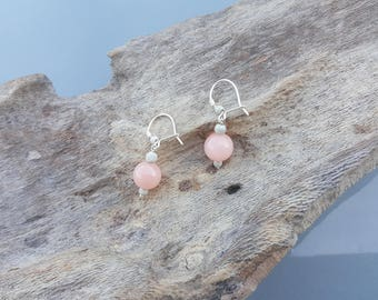 Rose Quartz and Silver Earings