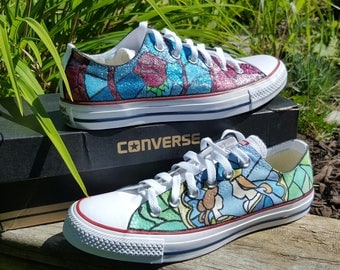 """Custom """"stained glass"""" glitter shoes"""