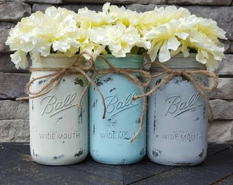 Distressed mason jar, farmhouse decor