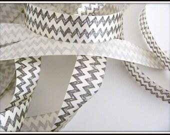 3 meters - Black satin ribbon white chevrons