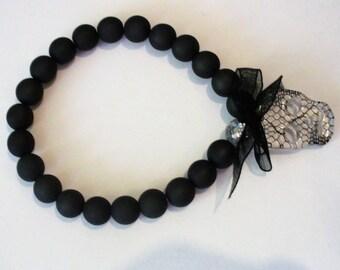 Polaris jet hematite and skull lace custom bracelet