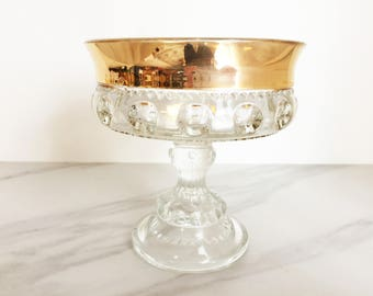 Vintage King's Crown thumbprint gold rimmed pedestal candy dish // footed vintage compote // Indiana Glass Company patterned glass dish