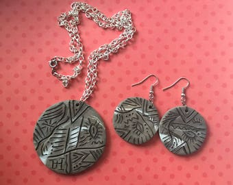 Hieroglyphics Inspired Necklace and Earring Set