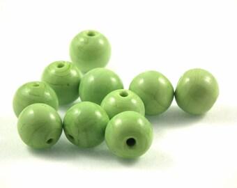 ♥X2 12mm♥ green glass bead