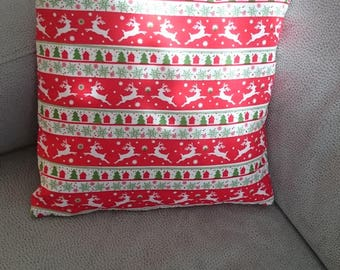The colors of red, white, green Christmas pillow