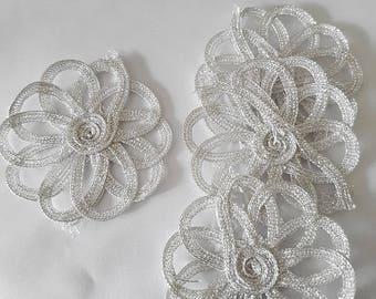Applique flower silver thimbles.