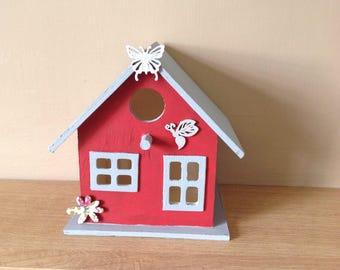 Wooden decorated bird box