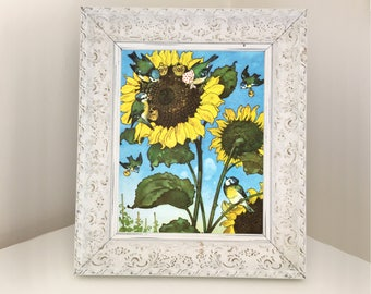 Blue tits Picking Sunflower Seeds. Vintage Book Page for framing Bedroom, Playroom, Nursery Decor. Set of Prints Available. Baby Shower Gift
