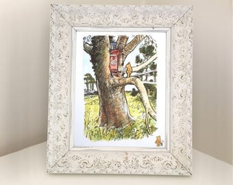 Winnie the Pooh Visiting Owl's House. Illustration from Vintage Book for Framing. Baby Shower Gift, Nursery or Bedroom Decor. E H Shepard