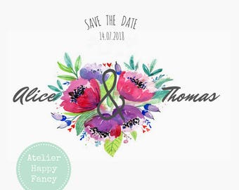 Nature floral wedding invitation