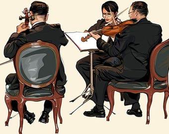 PLACEMAT semi-rigid ORIGINAL AESTHETIC WASHABLE and durable - music - Trio of violinists.