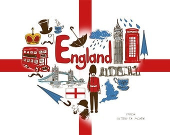 ORIGINAL design, durable and WASHABLE PLACEMAT - samples of country, England 1 - Classic.