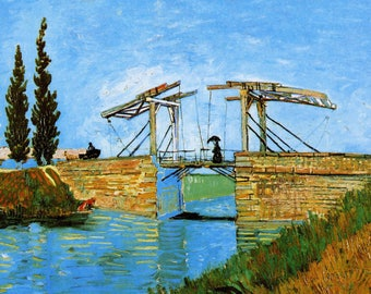 ORIGINAL AESTHETIC WASHABLE and tough semi-rigid PLACEMAT / Van gogh / Arles with Lady Langlois bridge.