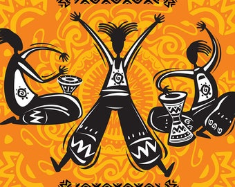 PLACEMAT semi-rigid ORIGINAL AESTHETIC WASHABLE and durable - Tribal Dance and drum.