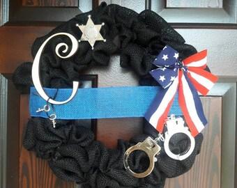 Blue line Wreath