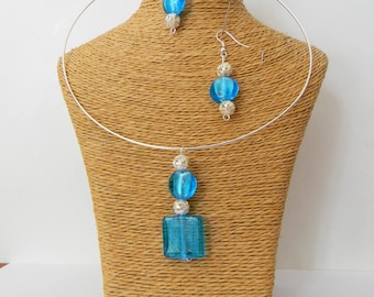 Turquoise glass Earrings + Necklace