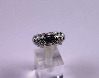 100 % handmade silver ring with amethyst