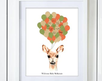 Gender Neutral Deer Baby Shower Guest Book Alternative Green Orange Beige