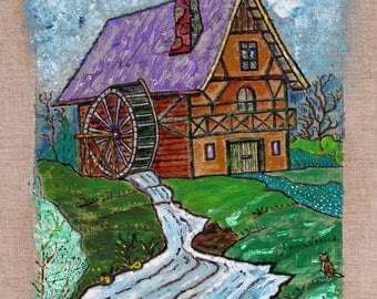 Water mill with quiet cat oil painting