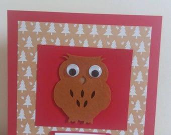Cute Owl handmade Christmas card