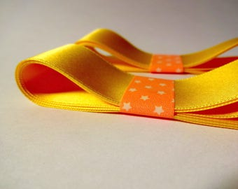 2 ribbons - width 2.5 cm embellishment - yellow - scrapbooking, sewing