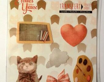 6 fusible fabric transfers - kitten - child - slate - fashion heart