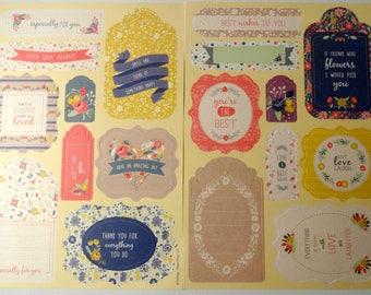 18 die - cut labels flowers - tags - scrapbooking, cardmaking, embellishments
