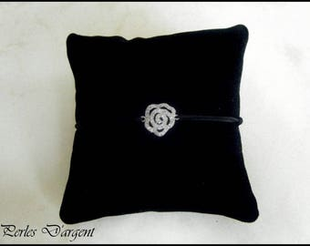 bracelet fleur en argent /zircon