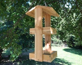 Double hanging platform handmade bird / squirrel feeder Rough Sawn Cedar