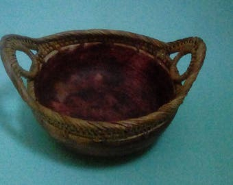 Coconut Shell and Wicker Bowl