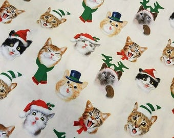 Christmas Holiday Cat selfies; half yard or yard cuts new 100% cotton quilting fabric