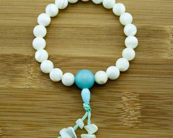Mother of Pearl Buddhist Mala Bracelet with Amazonite | 8mm | Yoga Jewelry | Meditation Bracelet | Buddhist Mala Bracelet | Free Shipping