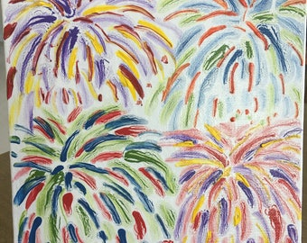 "Small Acrylic ""Fireworks"" Design Painting - Size 8x8  Great Gift!"