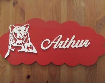 red door with customizable bear
