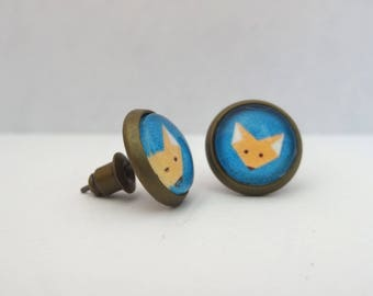 Earrings cabochon chips Fox head