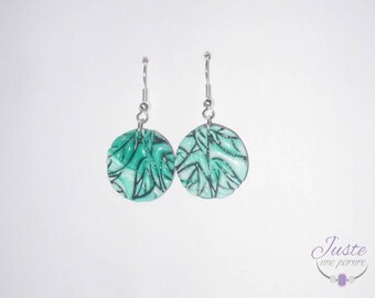 Polymer clay, leaves in relief, round shape dangling earrings