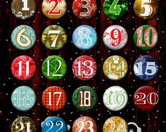 Advent calendar numbers buttons for the DIY set #1