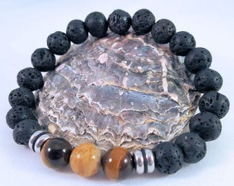 Precious stone bracelet for him made of lava, eye, jasper and stainless steel