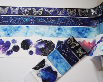 Washi tape sample set, silver foil, butterflies, galaxy and stars