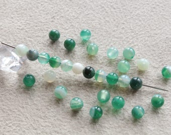 Natural Agate beads 20 shades of green 4mm