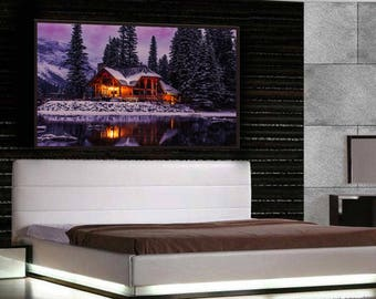 Beautiful Cabin in Winter Canvas Wall Decor