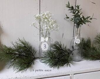 Pair of mini bottles of glass, wood, lace, linen cord tassel; shabby vibe