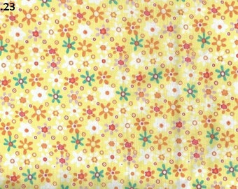 Fabric S23 flowers on yellow coupon 50x50cm