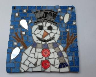 snowman mosaic tile