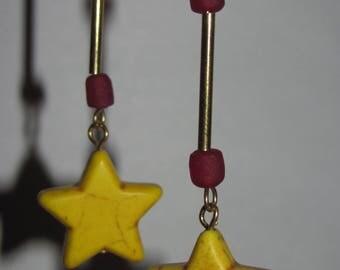 Yellow star earrings