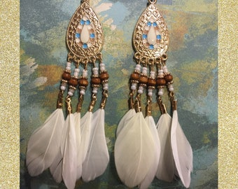 Ivory Feathered Earrings