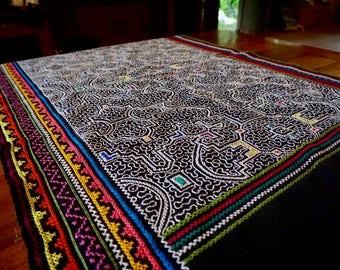 Shipibo Embroidered Tapestry Black Skirt with Sacred Kene Designs