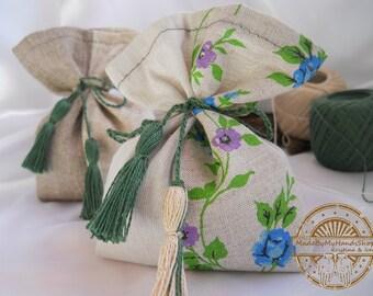 Lavender, mint, pine, flowers and gray sachet aroma bag of natural fabric, linen, fragrant sachet, handmade, bag with herbs, gift bag, eco